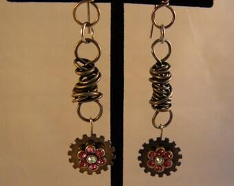 Steampunk Flower Earrings