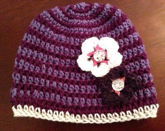 Spiral Beanie with Jeweled flowers