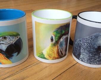FUN Parrot COFFEE MUGS  11oz  3 options- all featuring original artwork