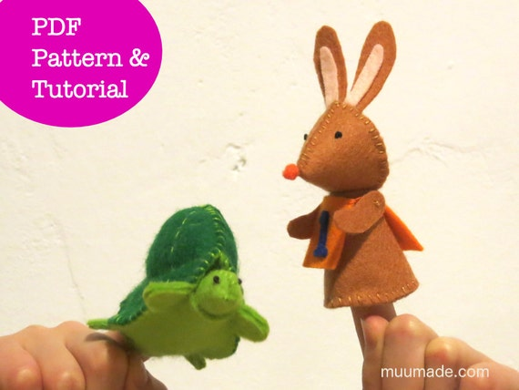 2 Finger Puppet Sewing Patterns, Felt Hare Tortoise, Rabbit Bunny Turtle, Handsewing, Handmade toy gift for children, PDF DIY, stuff animal