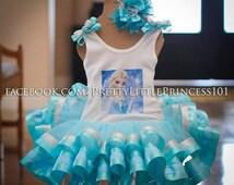 Elsa tutu dress, Queen Elsa dress, Frozen Elsa tutu, Elsa Tutu with ribbon on bottom, Queen Elsa tutu dress, size Newborn-12 Girl