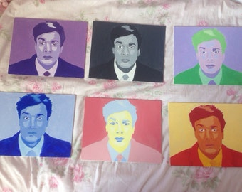 Six 8X10 Jimmy Fallon Acrylic Paintings (reblogged by the tonight show tumblr)