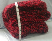 Crochet Blanket Pattern Red & Black with two strands of yarn Heirloom Handmade Afghan crocheted Throw Blanket