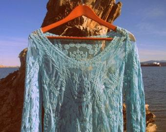 Aqua Blue Lace dress Size Lrg or med Dress, fairy dress, gypsy, burlesque, drama bridal wedding,cotton boho hippie prairie midi