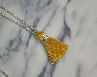 Gold Tassel Necklace | Small Tassel Pendant | Long Silver Necklace