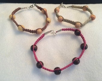 Brown and pink bracelet trio