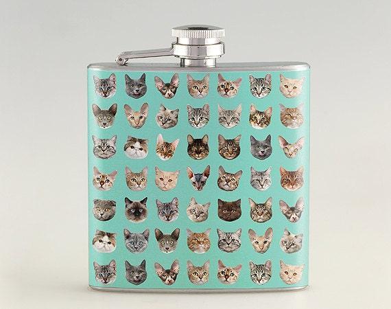 Cat Multi Face Liquor Hip Flask