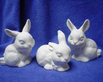 """3 Ceramic Bisque 3.5"""" Realistic Bunnies, Rabbits- Unpainted Ready to Paint - C048"""