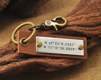 Hand Stamped Keychain  Coordinate keychain  Latitude Longitude keychain  leather key chain  Mothers Day Gift