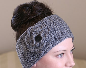 Ear Warmer with Removable Flower-Crochet Ear Warmer-Head Band-Gray Headwrap