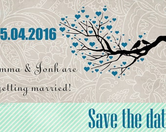 Love Birds Save the Date card / Wedding Invitation