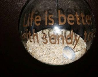 Beach ornament, sandy toes, sand ornament, beach life, nautical christmas