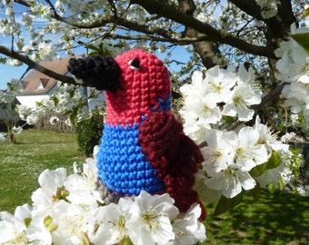 Parrot Eclectus female, crochet parrot, crochet amigrumi parrot, crochet bird,