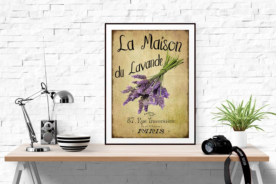 Vintage french lavender graphics wall art maison du for Maison du decor