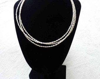 Triple Stranded Rice Pearl Necklace