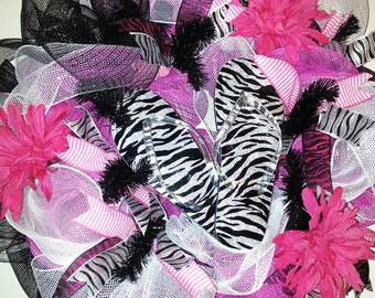 Made to Order, Summer wreath front door, Zebra Wreath, Flip Flop wreath, Summer wreath, beach wreath, party wreath