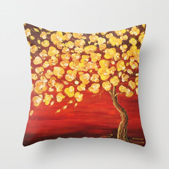 Decorative Pillows For Couch Etsy : Tree Pillow Red Pillow Cover Yellow by DesignbyJuliaBars on Etsy