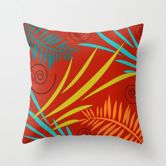 Teal And Orange Decorative Pillows : Red Throw Pillow Teal and Orange Pillow by DesignbyJuliaBars