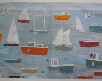 Retro Boats Tea Towel