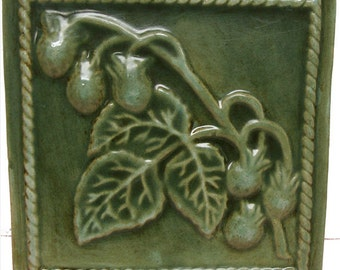 Pottery Tile Raised Strawberries Wall Accent