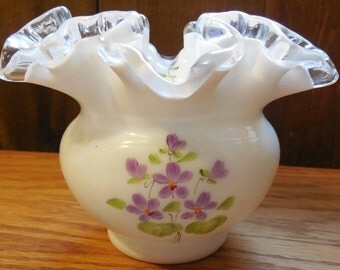 """1970s Fenton Violets in the Snow 4"""", Silver Crest Handpainted Vase, 1970s Signed by C Shaffer"""