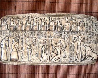 RARE Hand Carved Antique Wall Plaque of Ancient Egyptian JUDGMENT DAY