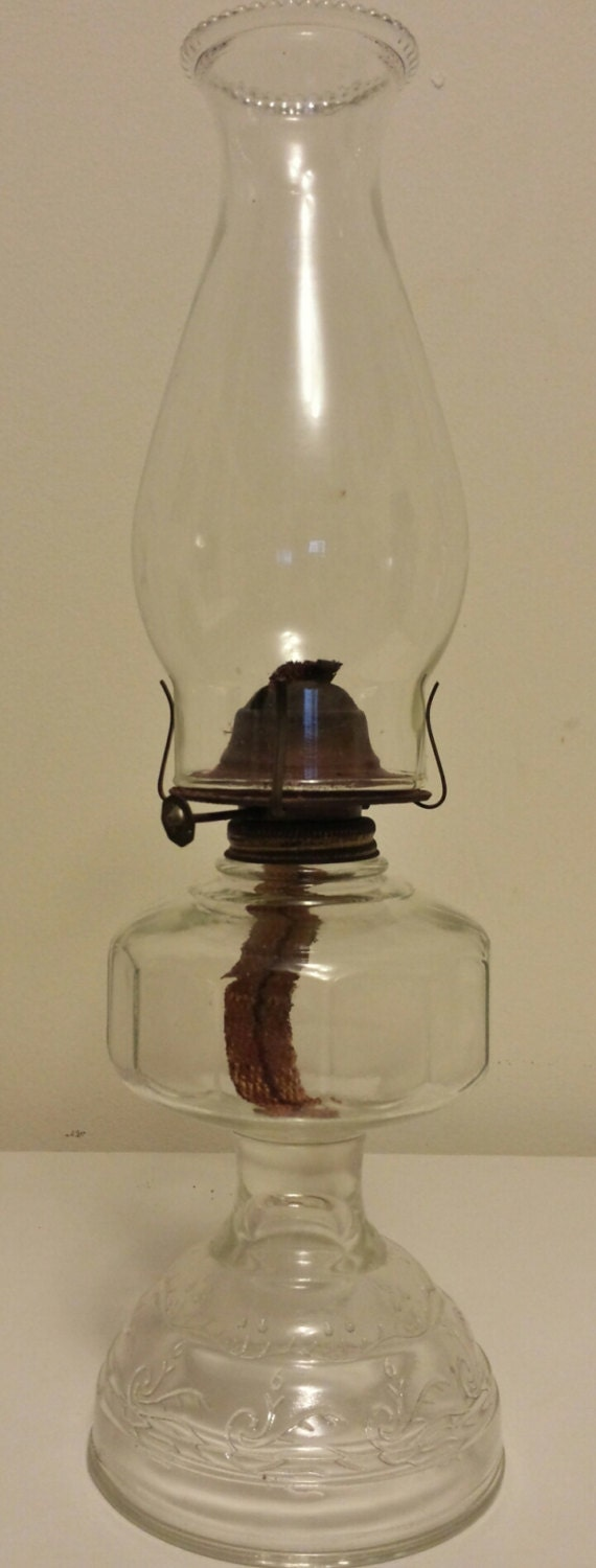 oil lamp clear glass with beaded chimney by plethoraofjunk. Black Bedroom Furniture Sets. Home Design Ideas