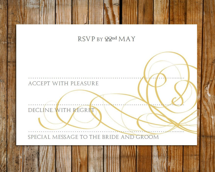 Wedding RSVP card template gold editable RSVP