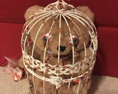 Bird Cage Brennan is a Handmade Teddy Bear! Perfect gift for any holiday or event, with a twist. Made by Teddy Bear Nightmares