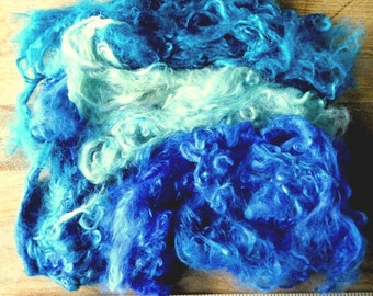 3 Oz. Hand Dyed Suri alpaca locks 'Gulf Shore Vacation'