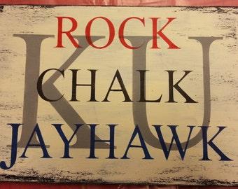 KU Rock Chalk Jayhawk Hand-painted Sign