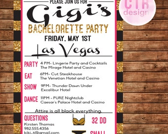Printable Hot Pink and Gold Glitter Bachelorette Party Invitation