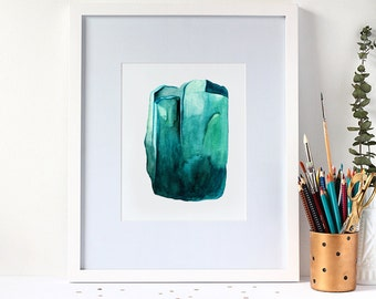 Watercolour Emerald Gemstone 8x10 Art Print