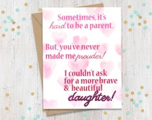 5 x 7 Brave and Beautiful Daughter - Support Greeting Card - Coming Out - Transgender - Loving Card - FourLetterWordCards