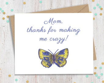 5 x 7 Card for Mom, Funny Card, Funny Greeting Card, Fun Card for Mom, Mothers Day Card