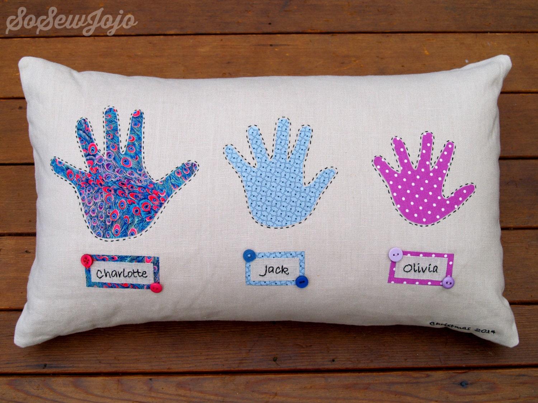 Grandchildren Handprint Pillow Cushion Hand Sewn And By