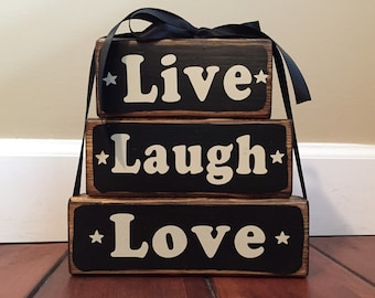 Live Laugh Love Wood Stacker Block Set
