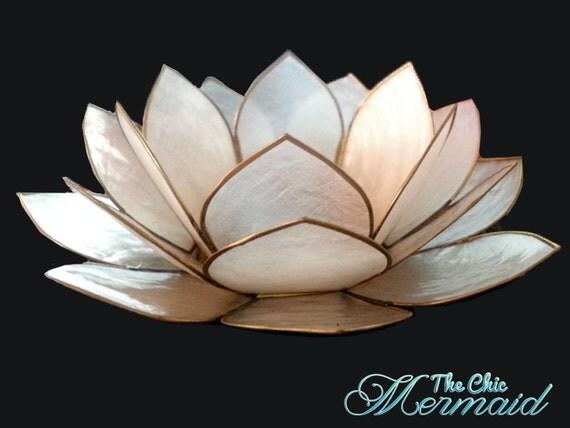 White capiz sea shell lotus candle holder by thechicmermaiddecor - Capiz shell tealight holder ...