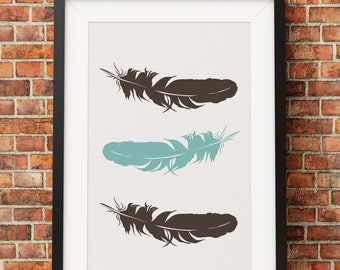 Feathers Print - Jpeg - A4 + Letter + 8x10 - INSTANT DOWNLOAD - Digital Print - Wall Art - Printable Poster