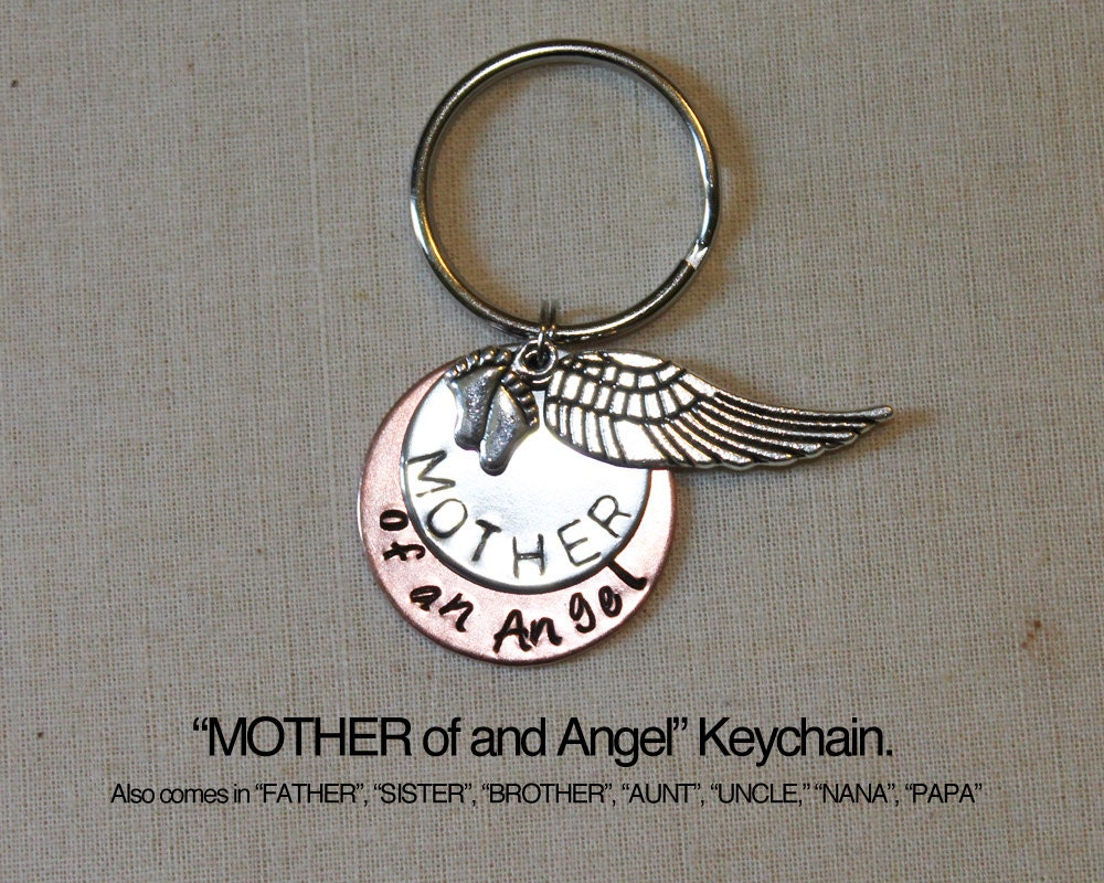 Mother Of An Angel Keychain Baby Memorial Angel Baby