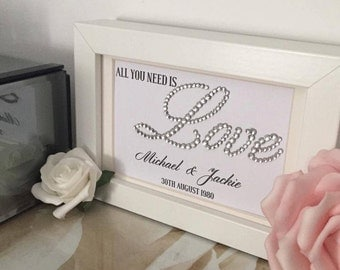 All you need is Love | Personalised framed print with crystals | Wedding gift | Anniversary gift | Custom Prints. Sparkle