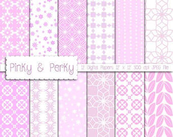 Digital Papers, Shades of Pink, 12 Digital Papers 300 dpi JPEG Files