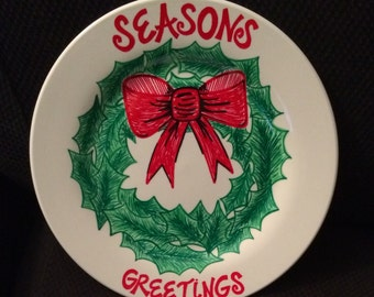 Seasons Greetings Wreath Plate