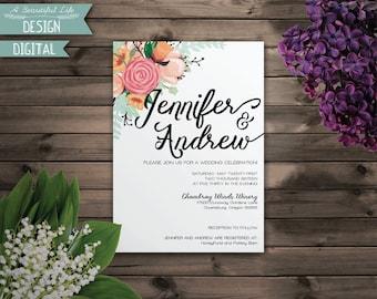 Printable Wedding Invite - Simple Flowers - Digital File - Customizable
