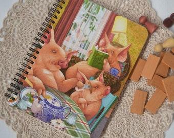 Repurposed book, Three Pigs, Art Journal, Notebook