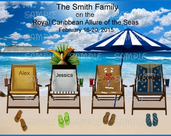Royal Caribbean Cruise Digital Printable Dreamworks Character Inspired Custom Personalized 1-6 Beach Chair Cruise Design