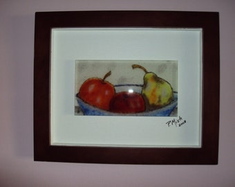 """Fused glass wall art. """"Fruit in a Bowl"""" (framed) Frame size 16 1/4"""" x 14"""" Glass size 9 1/4"""" x 5 1/4"""""""