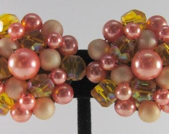 Vintage Shades of Peach & Orange Cluster Earrings