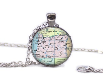 Oregon Map Pendant Map Necklace Map Jewelry Travel Jewelry