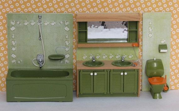 puppe haus vintage badezimmer waschbecken badewanne wc 70er, Badezimmer